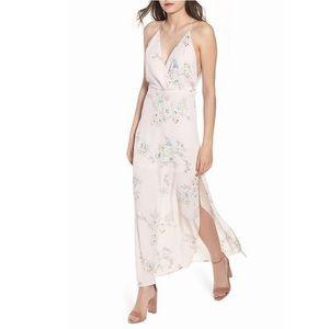 Lush Pale Pink Surplice Maxi Dress